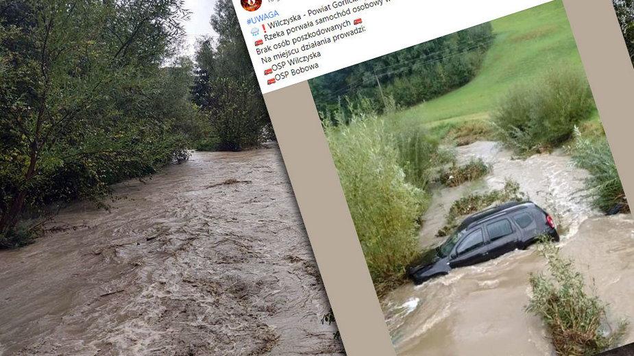 W Wilczyskach woda porwała samochód
