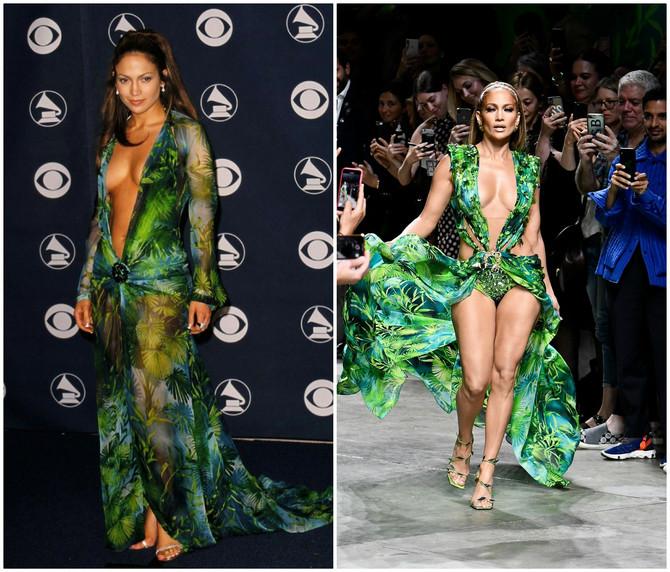 Džej Lo nekad i sad u Versace haljini