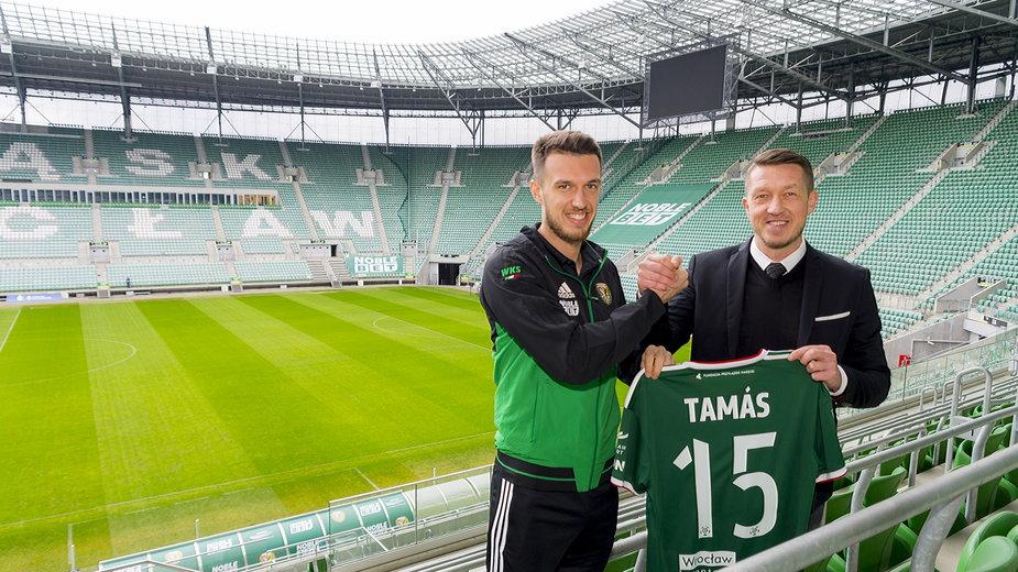 Mark Tamas i dyrektor sportowy Śląska Dariusz Sztylka