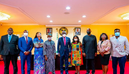 Babajide Sanwo-Olu and the newly inaugurated committee members [Twitter/jidesanwoolu]