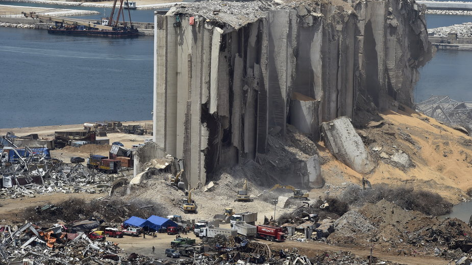 Miejsce, gdzie doszło do eksplozji w Bejrucie