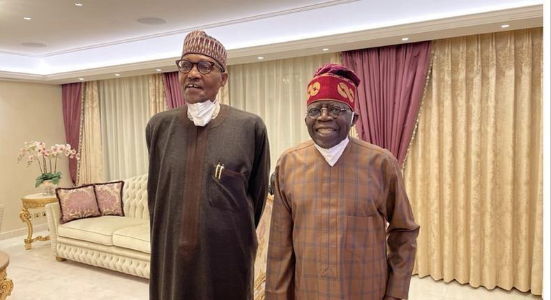President Muhammadu Buhari visits Bola Ahmed Tinubu in London (Presidency)
