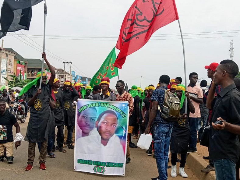 Shiites demanding El-zakzaky's release during a protest in Abuja