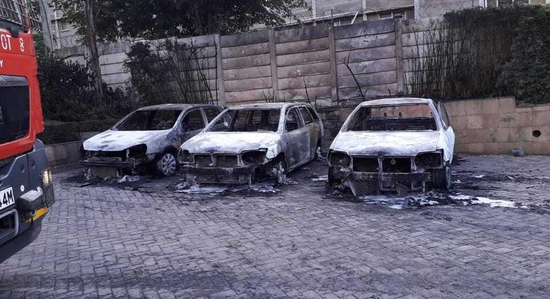 Vehicles that were burnt at the Dusit Hotel