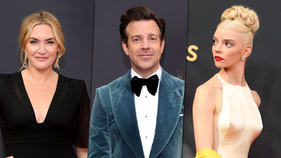 Kate Winslet, Jason Sudeikis i AnyaTaylor-Joy na rozdaniu Emmy 2021