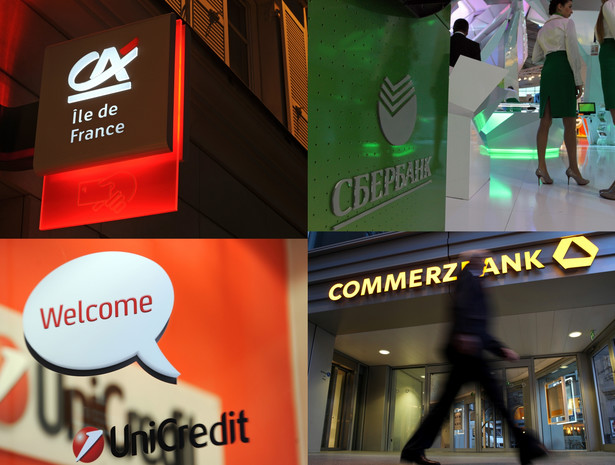 Loga banków zagranicznych, które są właścicielami polskich banków lub przymierzają się do kupna (Sbierbank): Unicredit, Commerzbank, Credit Agricole, Sbierbank.