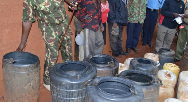 Police impounding illicit brew
