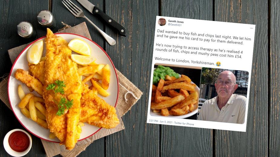 83-latek był zszokowany ceną za rybę z frytkami w londyńskiej restauracji