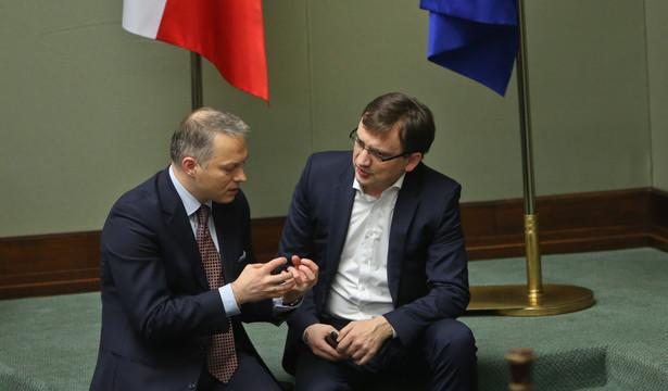 Minister sprawiedliwości Zbigniew Ziobro oraz poseł PiS Jacek Żalek