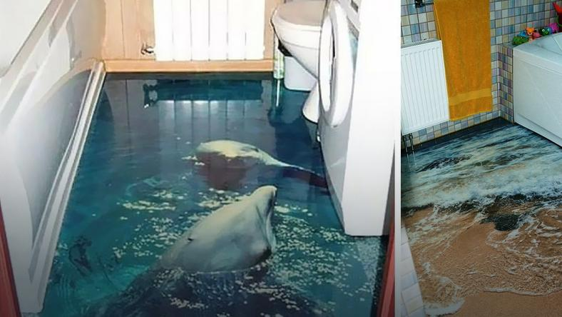 Podłoga 3d Która Zamienia łazienkę W Ocean Kobieta