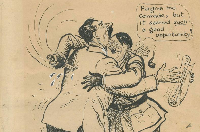 """Desene animate care arată atacul Germaniei asupra Uniunii Sovietice.  Hitler îi spune lui Stalin: """"Îl vei ierta pe tovarăș, dar a fost o ocazie foarte bună"""""""