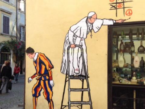 Rzym niezadowolenie po usuni ciu muralu z papie em for Mural z franciszkiem