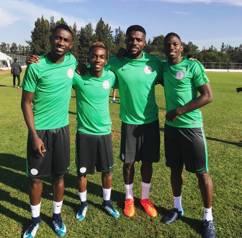 John Ogu (second from right) says Ndidi (far left) loves to joke with everyone