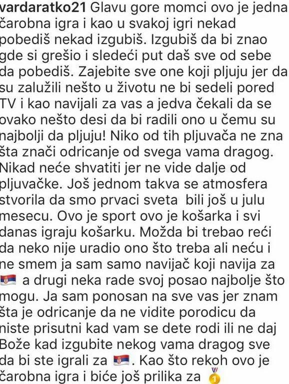 Ratko Varda poruka