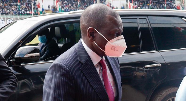 Deputy President William Ruto arriving for the Mashujaa Day celebrations at Gusii Stadium, Kisii County