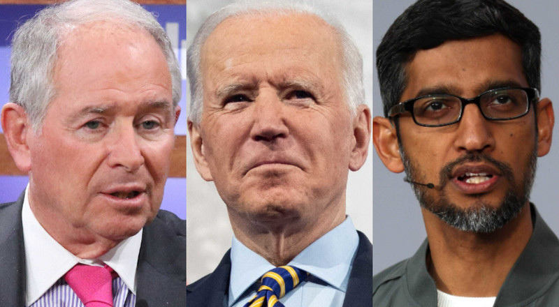150 business leaders, including Google's Sundar Pichai and longtime Trump ally Stephen Schwarzman, are backing Biden's $1.9 trillion stimulus bill in a letter to Congress