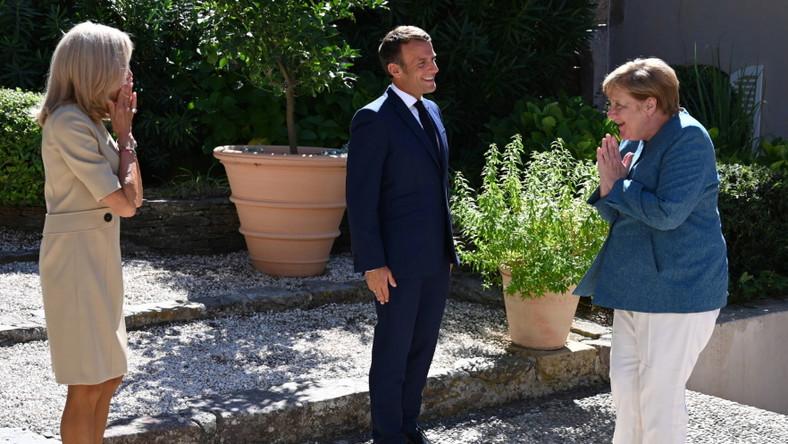 Brigitte Macron Emmanuel Macron Angela Merkel