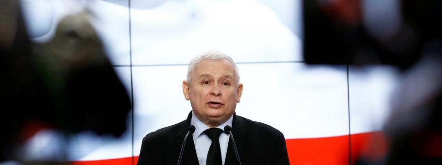 Kaczynski, the leader of the ruling Law and Justice Party speaks during a news conference in Warsaw