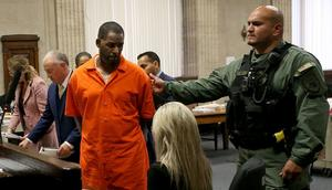 R Kelly pictured attending a separate court hearing in Chicago earlier in September