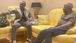 Lagos State governor, Babajide Sanwo-Olu (left), with former Lagos State governor, Bola Tinubu (right) [LASG]