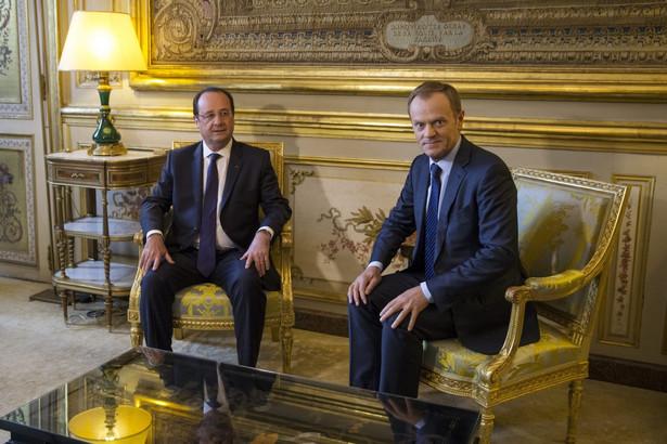 Francois Hollande i Donald Tusk w Paryżu. Fot. EPA/ETIENNE LAURENT/PAP/EPA