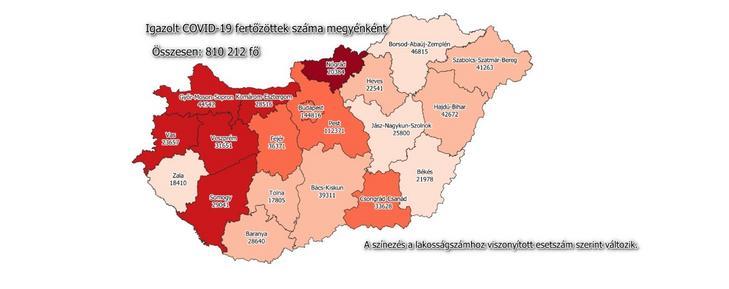 A Covid-19 fertőzöttek száma megyénként / Fotó: koronavirus.gov.hu
