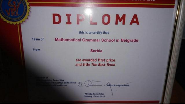 Diploma koju su dobili kao najbolji tim