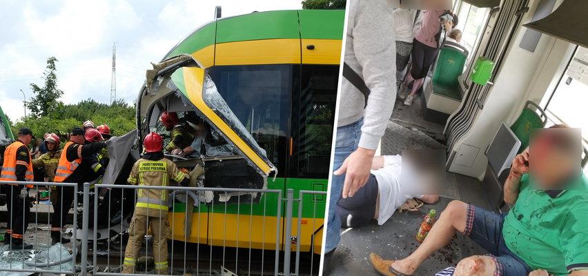 Zderzenie tramwajów w Poznaniu. Kilkadziesiąt osób rannych, motorniczy zakleszczony