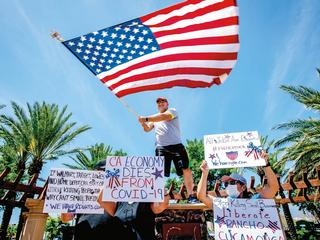 O SAY CAN YOU SEE? Protesters in Rancho Cucamonga, California,showing their displeasure with a state stay-athome order this May