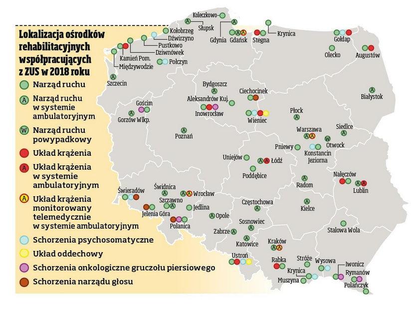 Lokalizacja ośrodków rehabilitacyjnych współpracujących z ZUS w 2018 r.