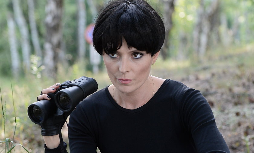 Halina Młynkova na planie teledysku