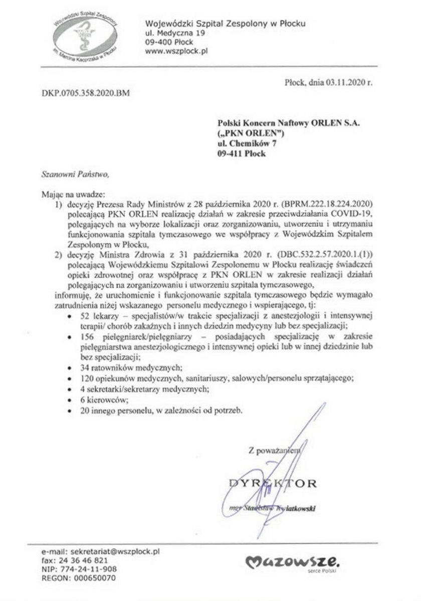 Pismo Wojewódzkiego Szpitala Zespolonego w Płocku