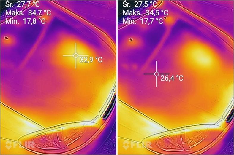 Różna temperatura zależnie od punktu samochodu. Zdjęcia zrobione kamerą termowizyjną w aparacie CAT S60