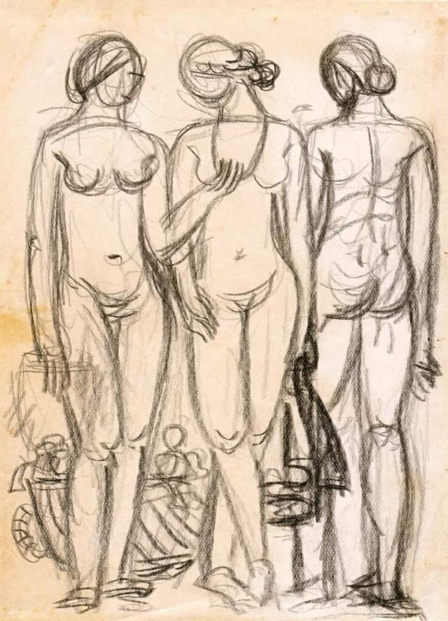 """Sreten Stojanović, skica (detalj) za """"Ogrlicu"""" (1937), Spomen-zbirka Pavla Beljanskog"""