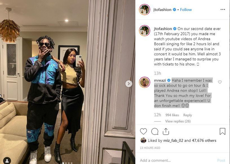 Obviously pleased by her gesture, Mr Eazi took to her Instagram comment section where he professed his undying love for her. [Instagram/JTOFashion]