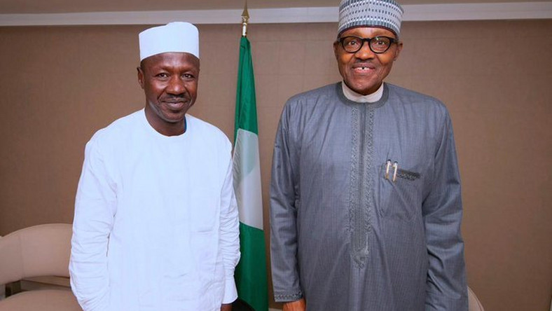 Despite various corruption allegations surrounding Ibrahim Magu (left) over the years, President Muhammadu Buhari (right) has kept him in the job in an acting capacity for five years [EFCC]