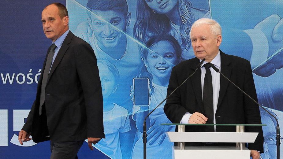 (od lewej) Paweł Kukiz i Jarosław Kaczyński. 14.06.2021 r.