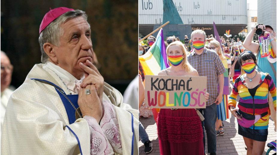 Arcybiskup Dzięga i uczestnicy tegorocznego Marszu Równości w Katowicach