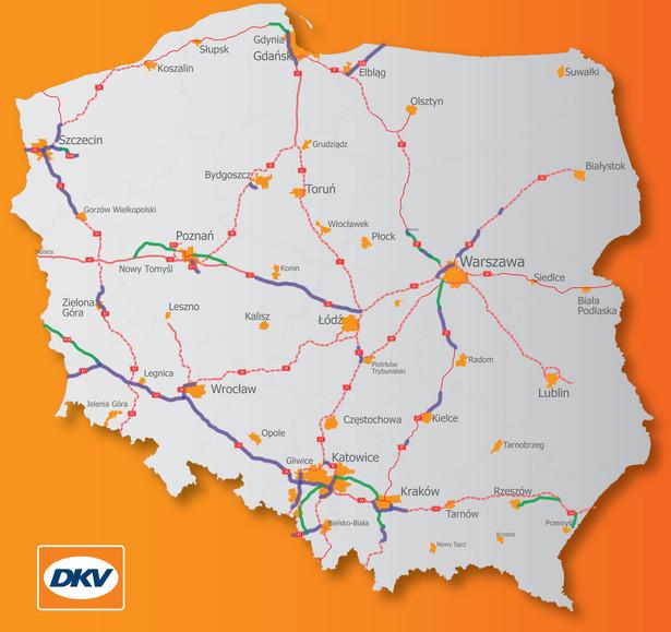Mapa odcinków dróg, na których obowiązywać będzie e-myto.