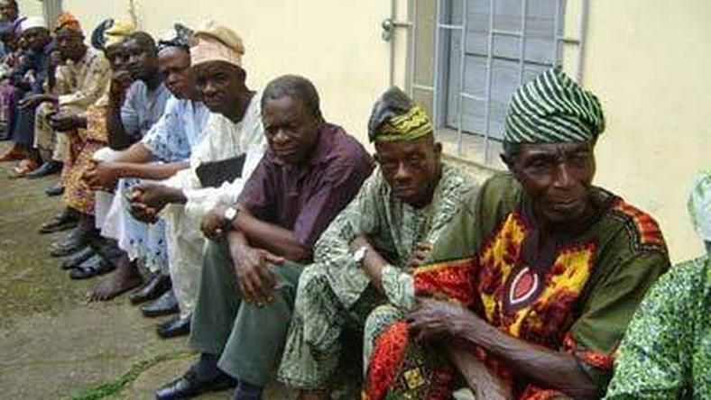Pensioners waiting in line to have their medical check up.