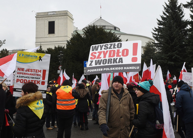 Demonstracja handlowców pod Sejmem