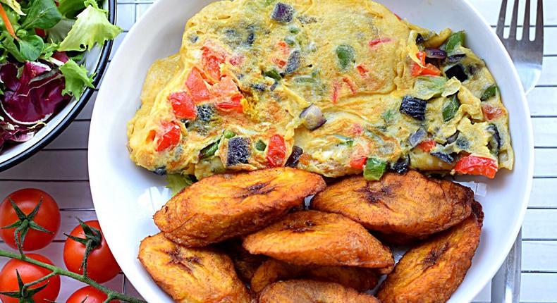 Dodo with eggs is a common breakfast in Nigeria