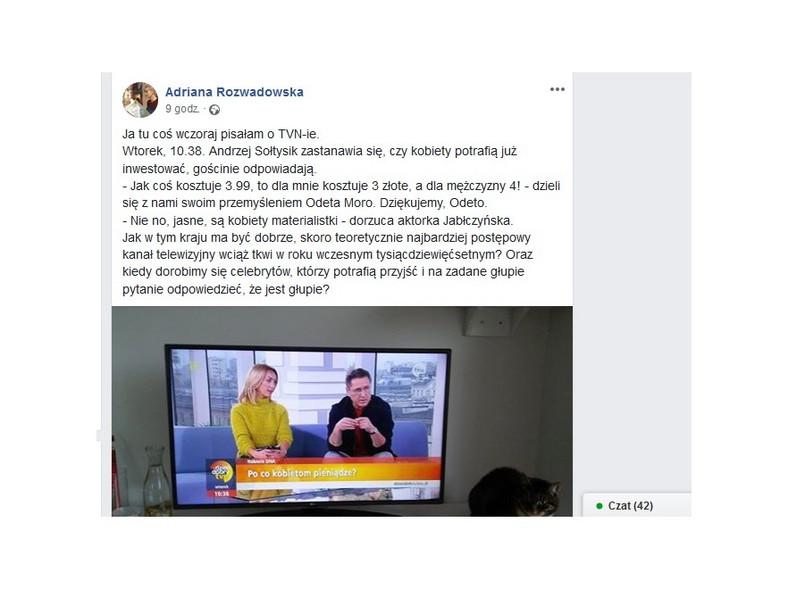 Screen z postu na Facebooku Adriany Rozwadowskiej