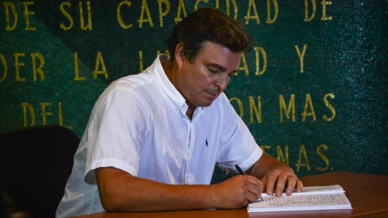 Son of Revolutionary leader Fidel Castro, Antonio Castro Soto del Valle and many others, signed an oath of allegiance to his father's revolution concept at Revolution Square Jose Marti's memorial in Havana, on November 28, 2016