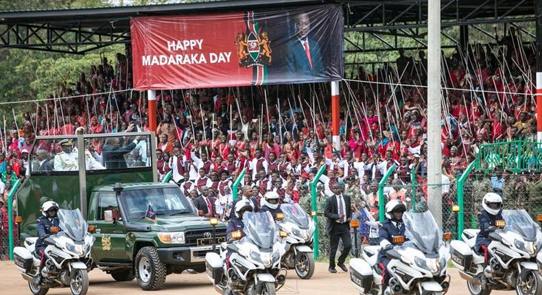 President Uhuru Kenyatta arrivs for the Madaraka Day celebrations in Narok