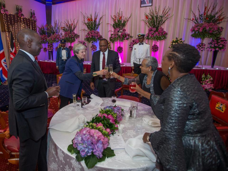 President Uhuru Kenyatta and First Lady Margaret host State House dinner to welcome UK Prime Minister Theresa May. Deputy President William Ruto and wife Rachel also in attendance
