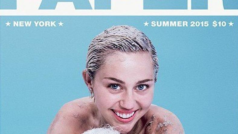 Miley Cyrus and her pet pig on the cover of Paper Magazine