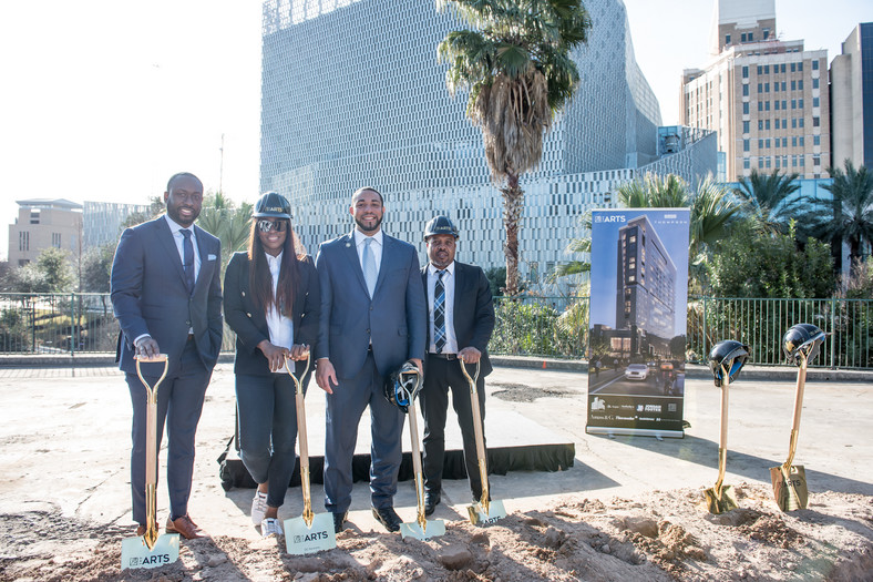 Acho Azuike(HOUSTON EB5), Ruth Obih (3INVEST) Tommy Calvert, County Commissioner, San Antonio and a guest; During the ground-breaking of the Arts Hotel and residence, San Antonio