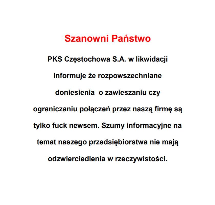 Prezes PKS Częstochowa podkreśla, że zła sytuacja firmy to tak naprawdę fake news