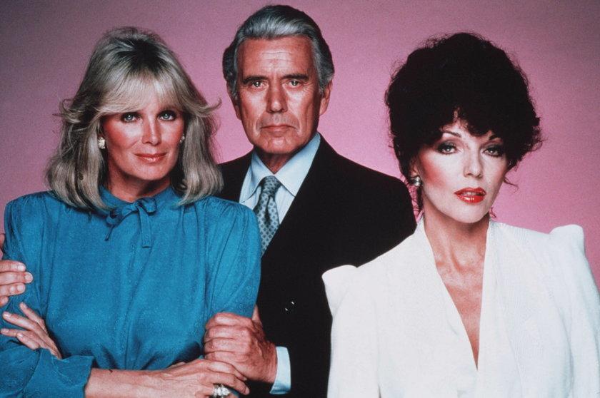 """Joan Collins, John Forsythe i Linda Evans. Bohaterowie """"Dynastii"""""""